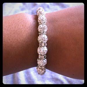 Jewelry - ♦️Handmade White & Silver Shamballa Bracelet